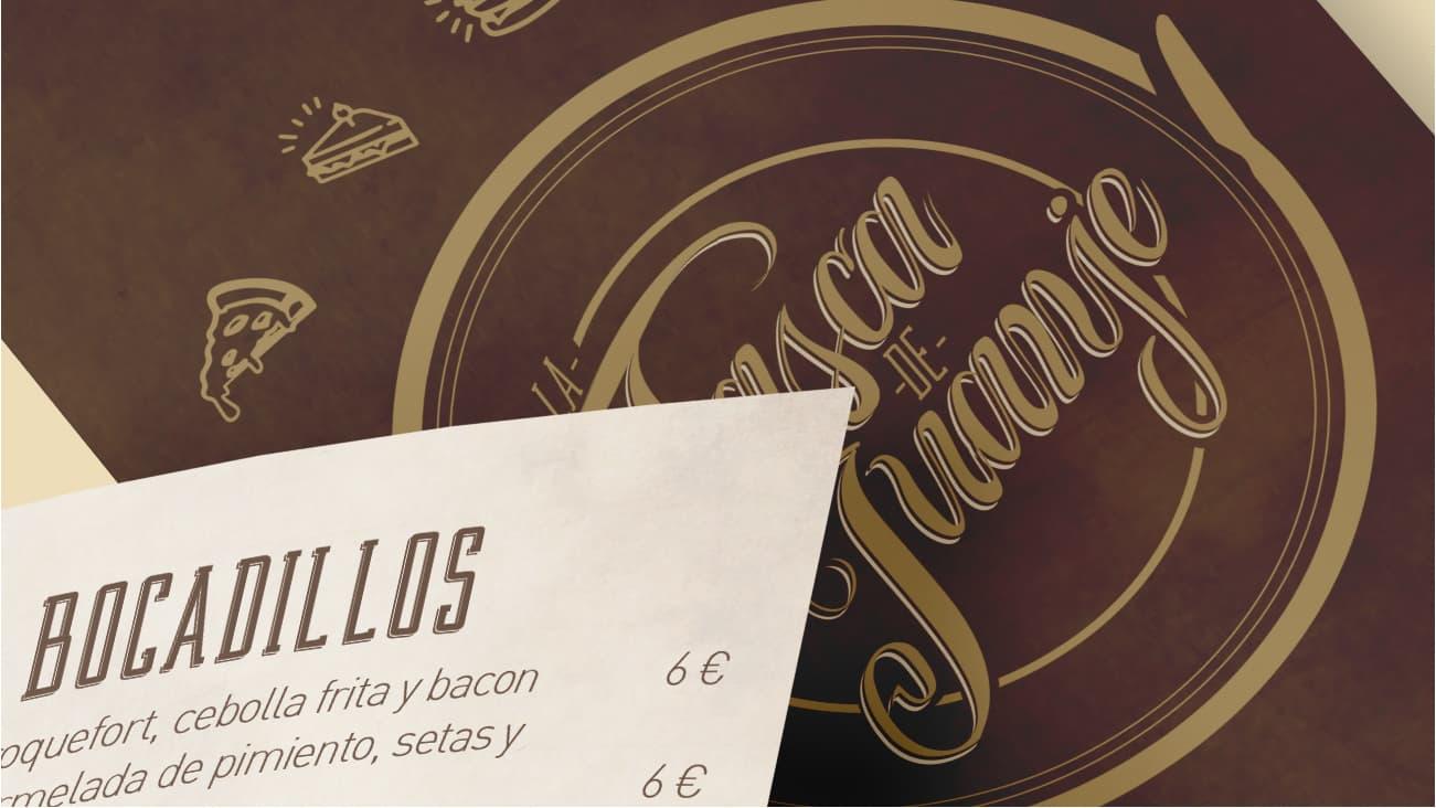 Diseño de logotipo, lettering y menú tríptico.